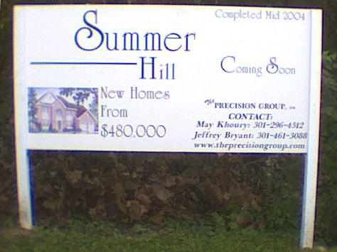 Sign Announcing Summer Hill